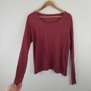 Eileen Fisher Red LINEN Striped Long Sleeve Top A5